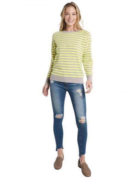 yellow and gray striped sweater ripped skinny jeans