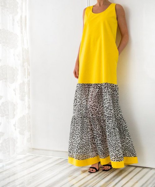 Color block maxi tank dress with yellow and leopard print