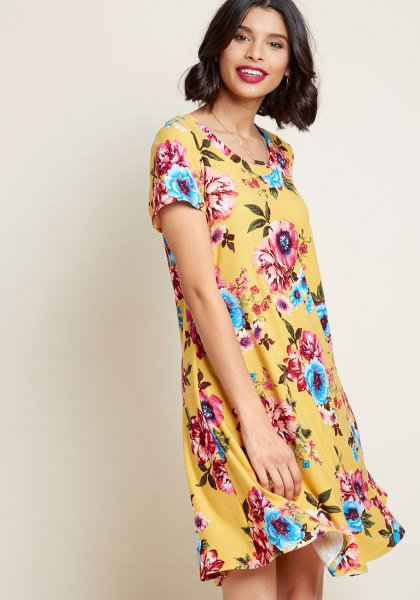 yellow and light blue mini dress with floral pattern