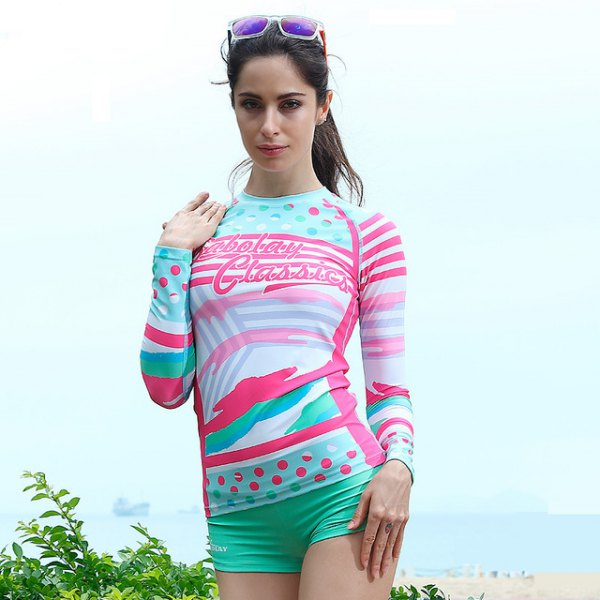 waterproof long-sleeved t-shirt with yellow and white print and blushing swim shorts