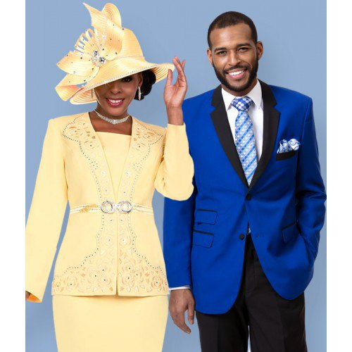 yellow blazer jacket with belt, midi skirt and church hat