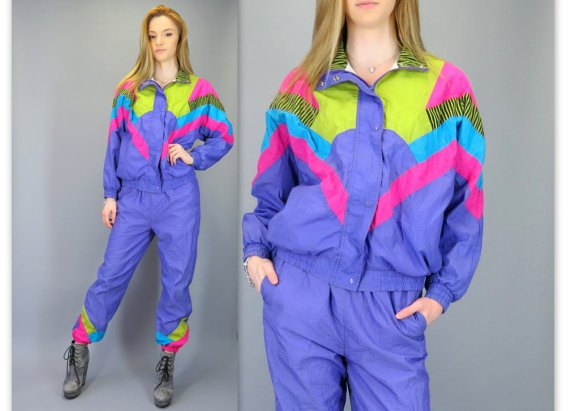 yellow-blue and pink vintage windbreaker with matching running pants