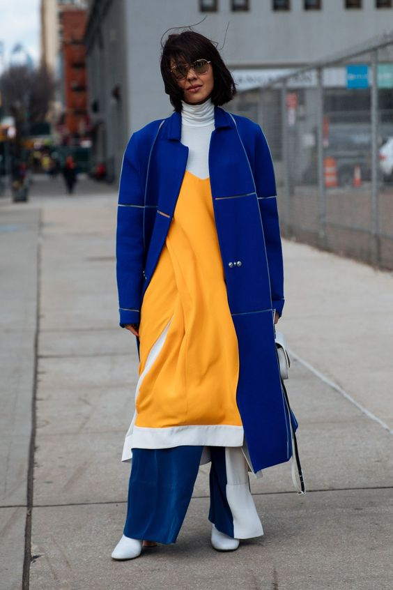 yellow-blue outfit coat