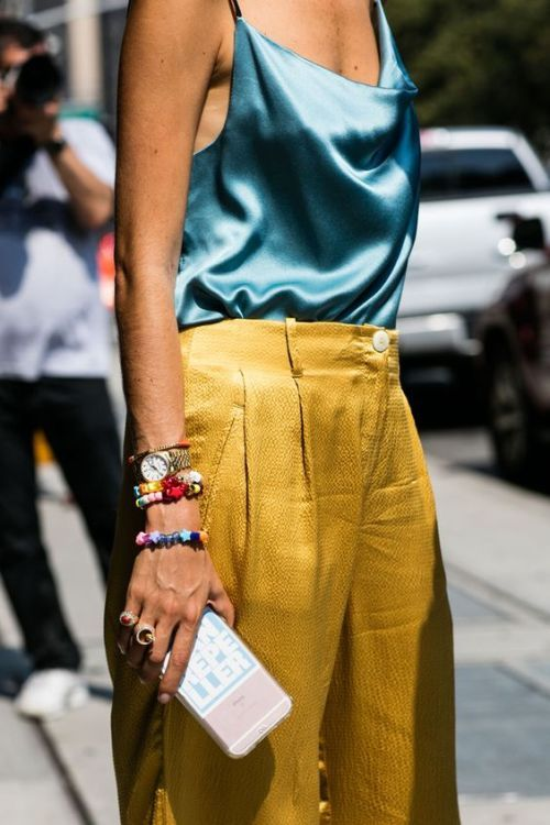 yellow-blue outfit camisole