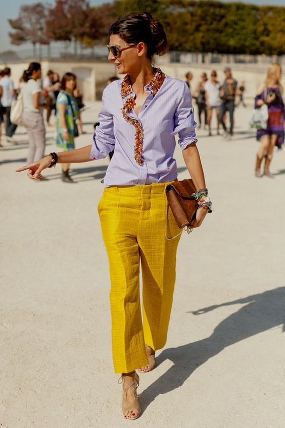 yellow-blue outfit pants