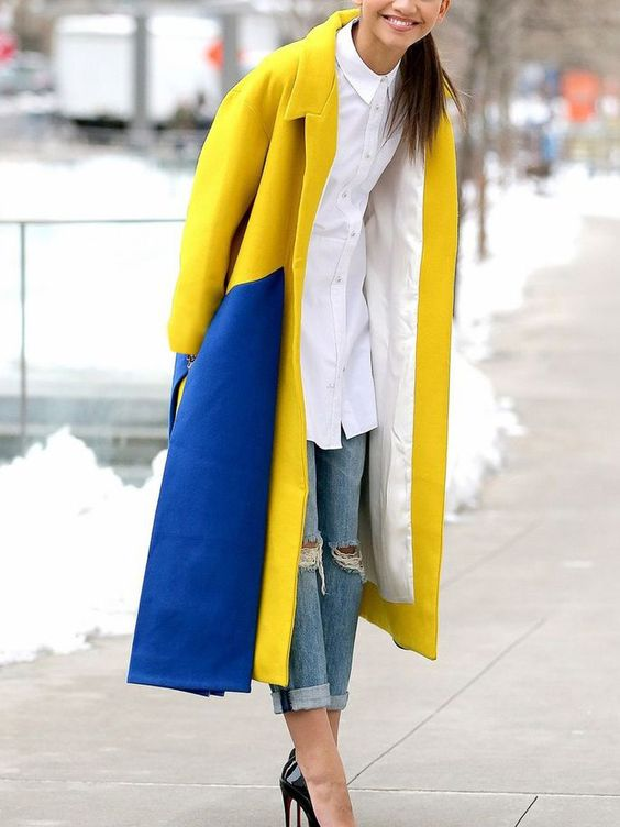 yellow-blue outfit two-tone coat