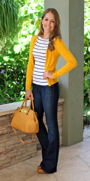 yellow cardigan with black and white striped t-shirt and jeans