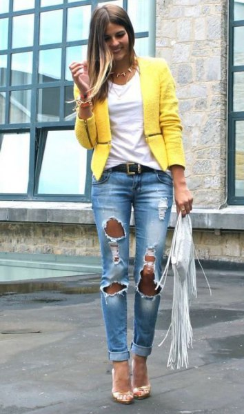 yellow casual summer blazer with badly ripped boyfriend jeans