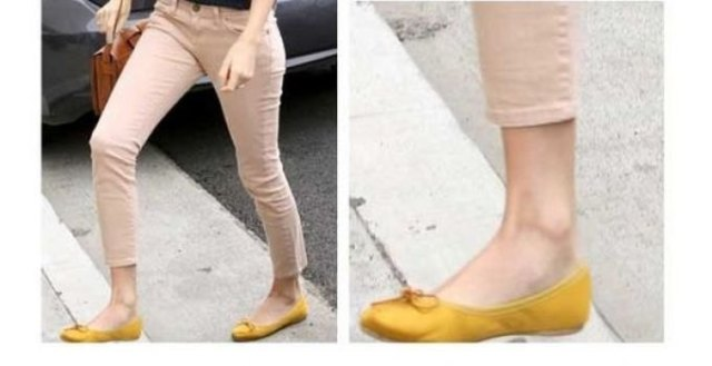 yellow flats cropped beige drainpipe trousers