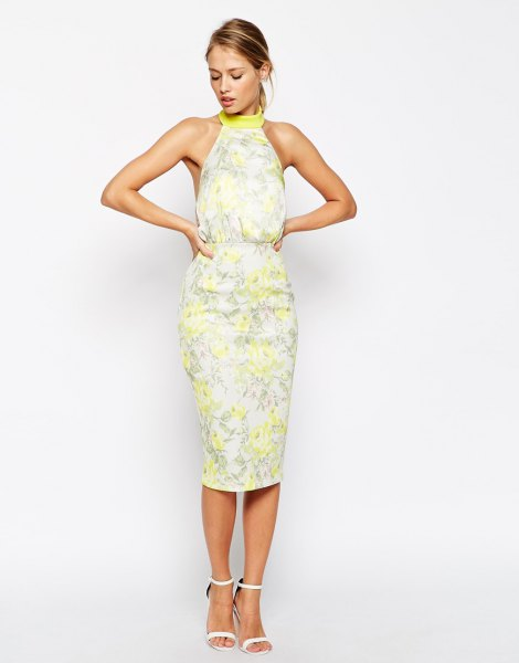 Summer dress with yellow flower halter and midi dress