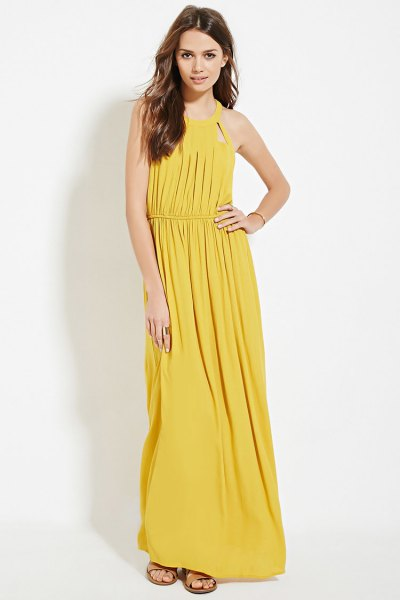 yellow, fitted, pleated maxi dress