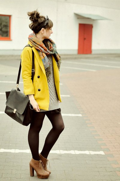 yellow jacket with blushing pink cable knit mini sweater dress