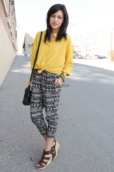 yellow knotted shirt printed pants