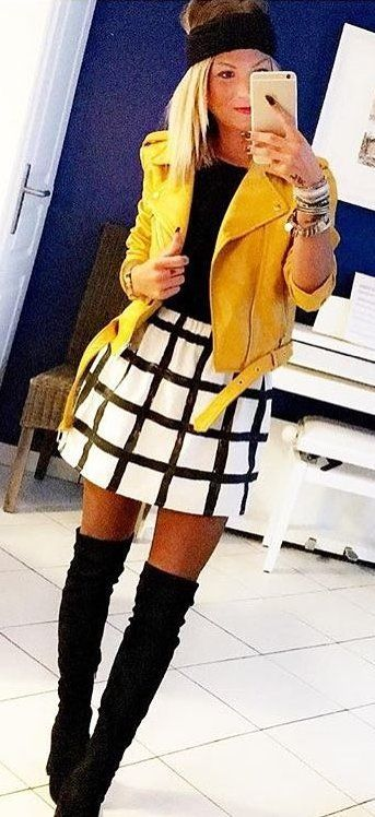 40 Outfit Ideas To Copy This Winter | Yellow jacket outfit, Jacket .