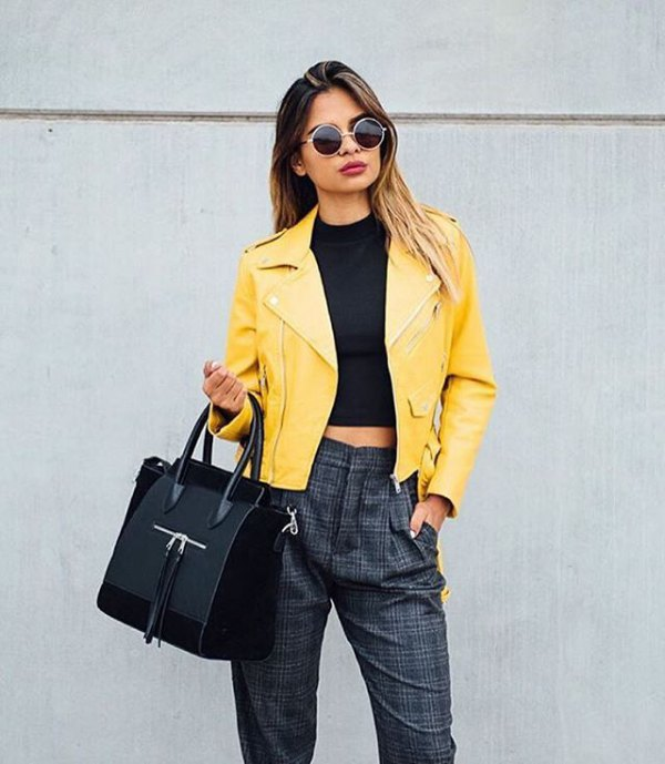How to Wear Yellow Leather Jacket: Outfit Ideas for Women - FMag.c