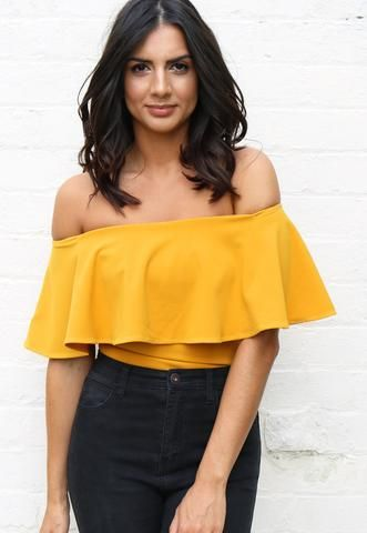 Sleeveless Off The Shoulder Frill Top Bodysuit in Mustard Yellow .