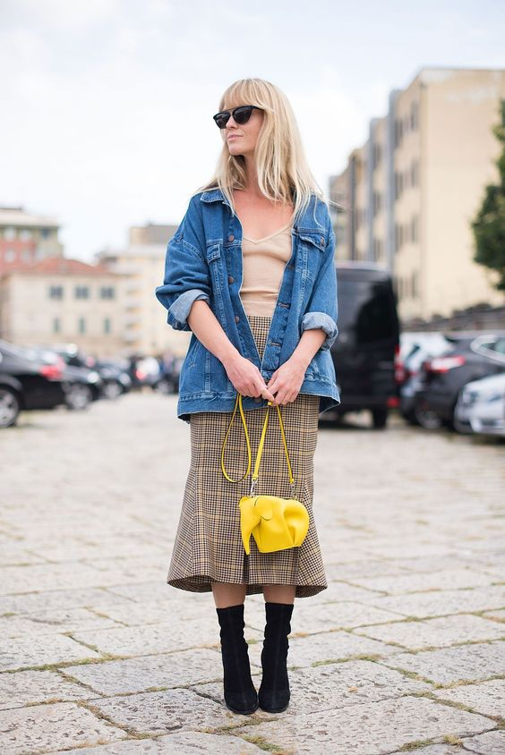 Denim jacket with a yellow checked skirt