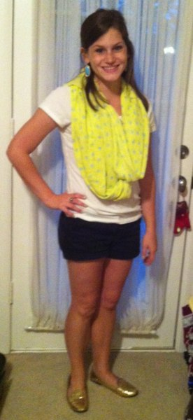 yellow printed summer scarf with white T-shirt and black mini-shorts