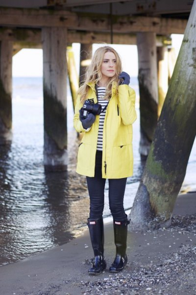 yellow navy raincoat and white striped t-shirt
