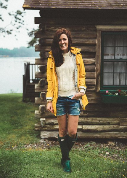 yellow raincoat white knitted sweater