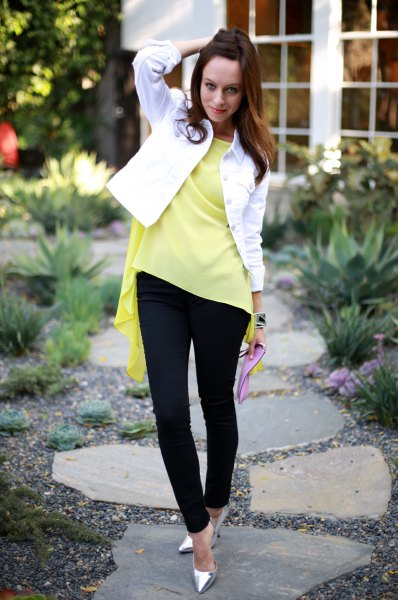 yellow denim jacket with a yellow frilled top
