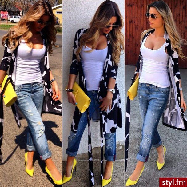 Moda Inne Moda uliczna | Yellow pumps outfit, Yellow shoes outfit .