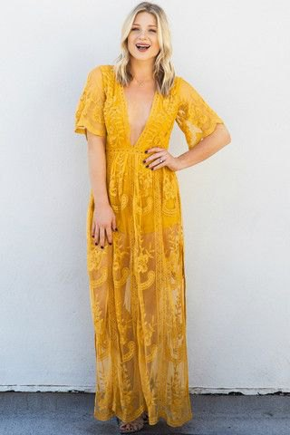 yellow short-sleeved long dress with deep V-neck