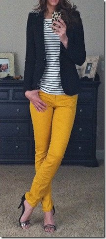 yellow skinny jeans black and white striped t-shirt blazer