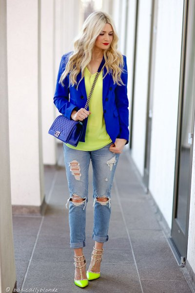 Yellow trimmed royal blue blazer with rivets