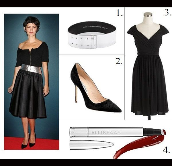 The art of accessorizing Audrey Tautou, prada zip front black .
