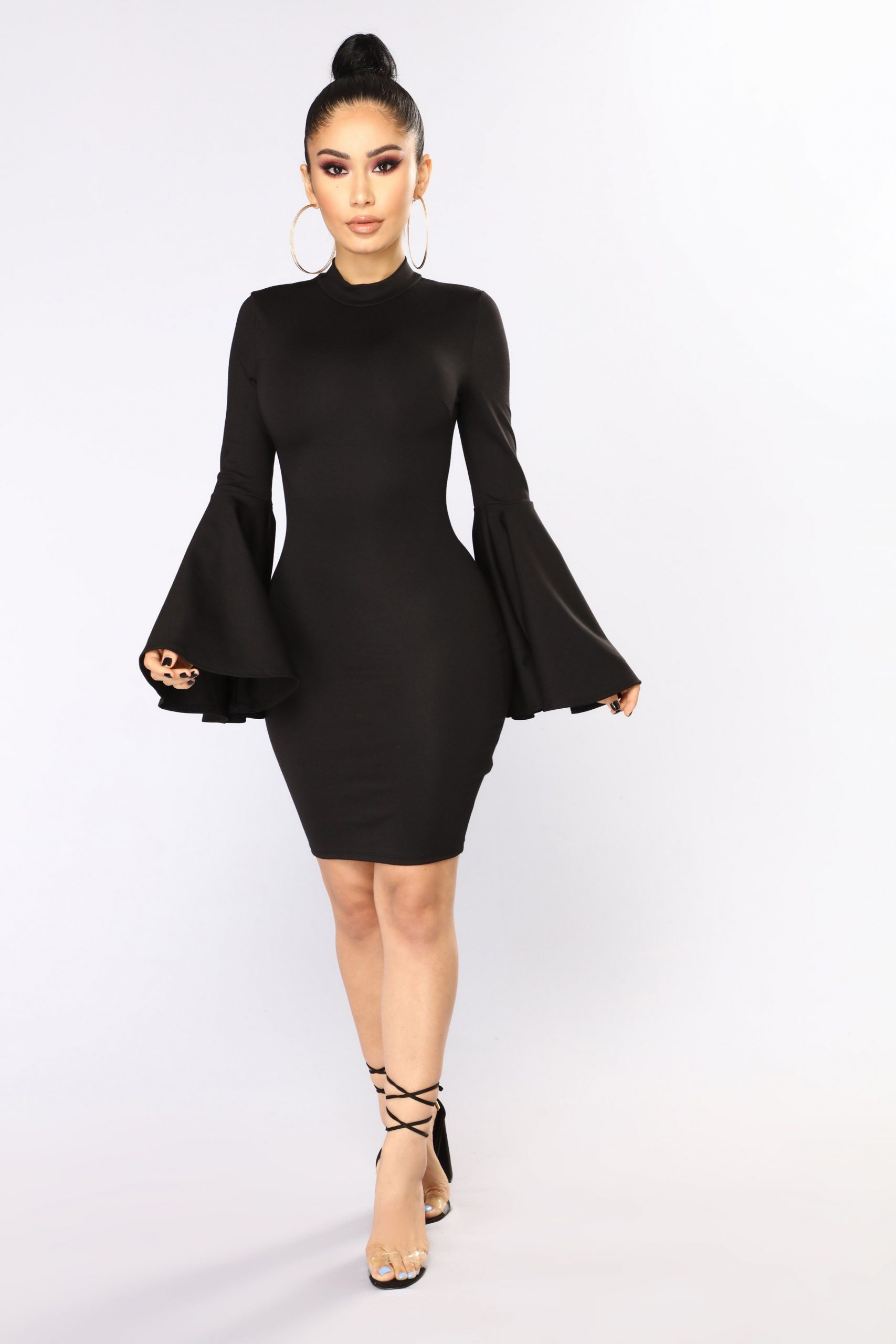 Black Bell Sleeve Dress Outfits