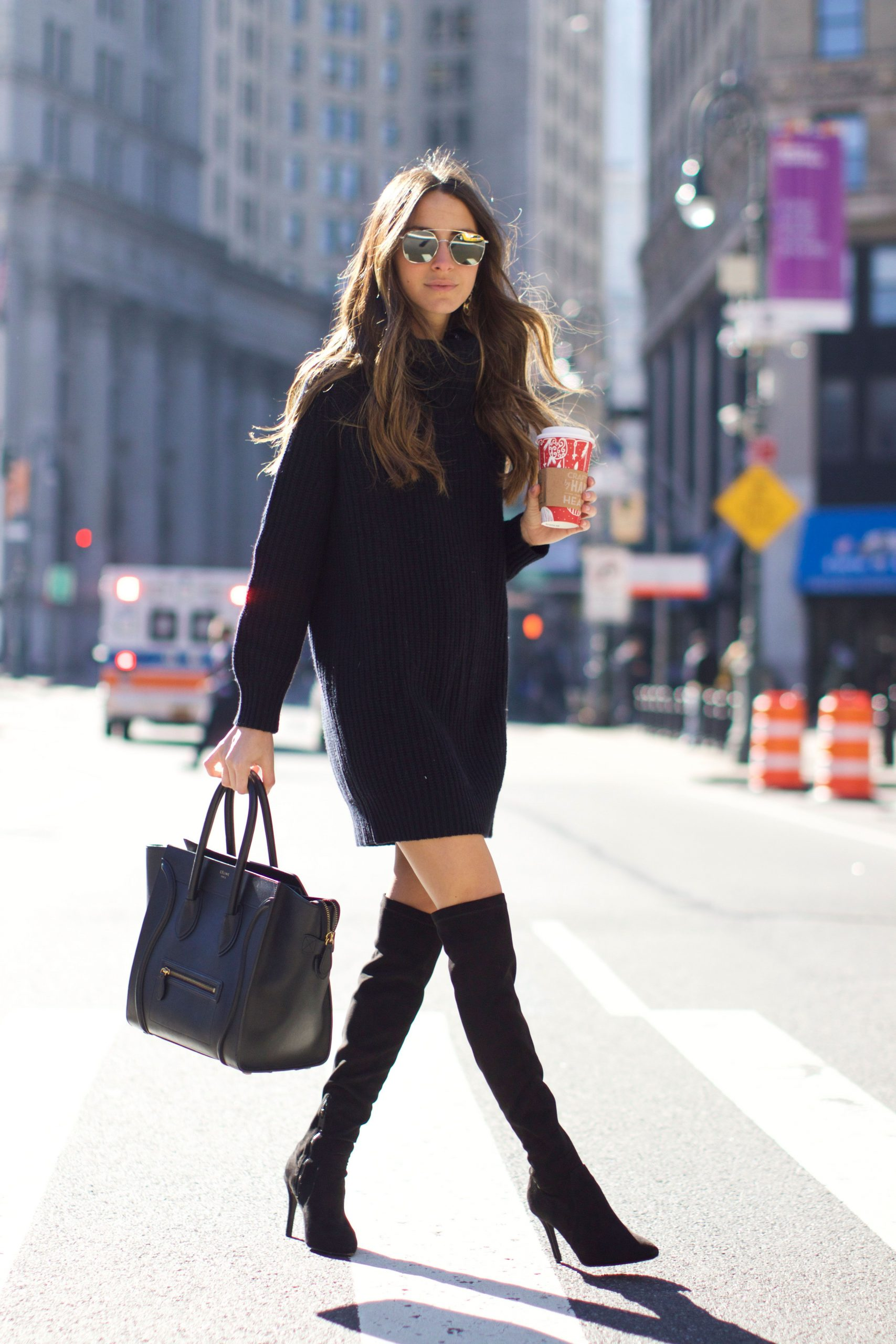 Black Sweater Dress Outfit Ideas