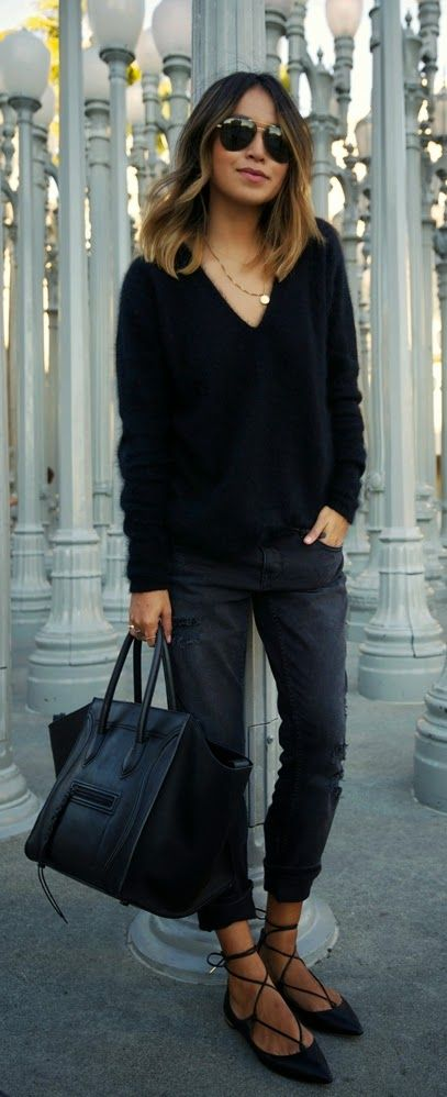 Black V Neck Sweater Outfit Ideas