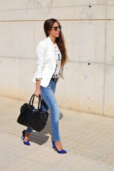 Blue Suede Heels Outfit Ideas