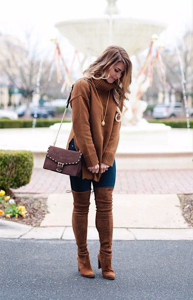 Brown Knee High Boots Outfits