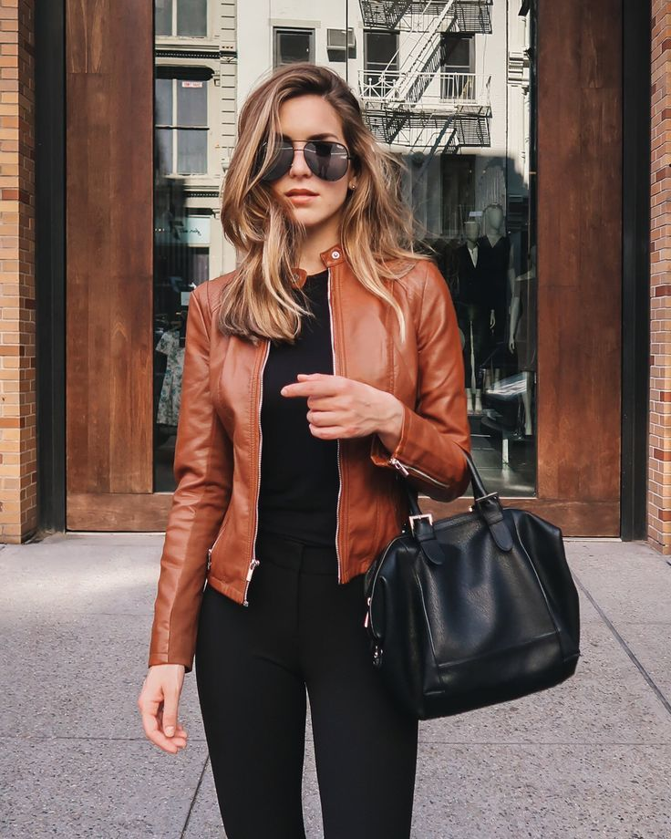 Brown Leather Jacket Outfits For Women