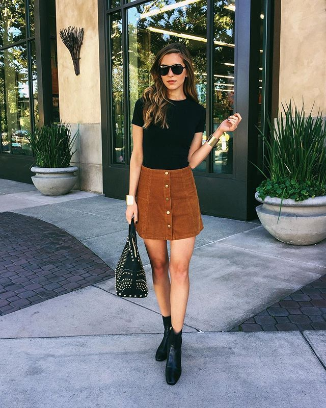 Corduroy Button Up Skirt Outfits
