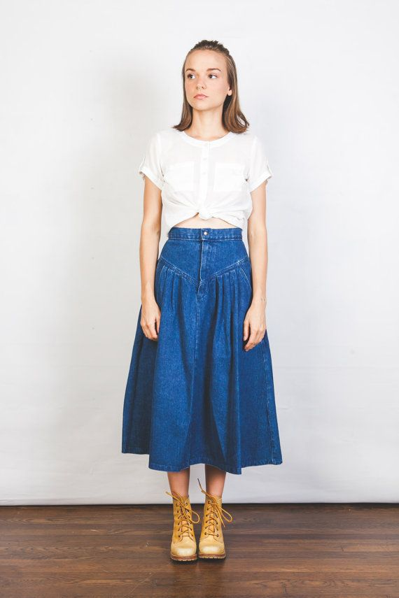 Denim Midi Skirt Retro Style