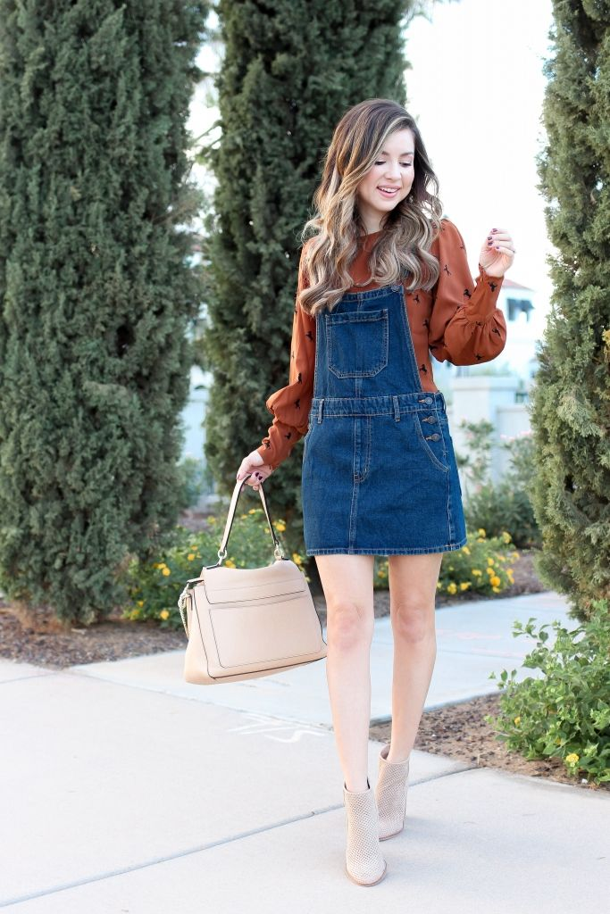 Denim Overall Dress Outfit Ideas