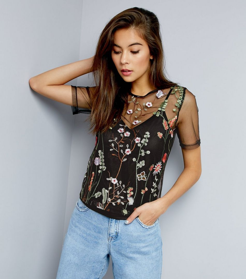 Embroidered Mesh Top Outfits