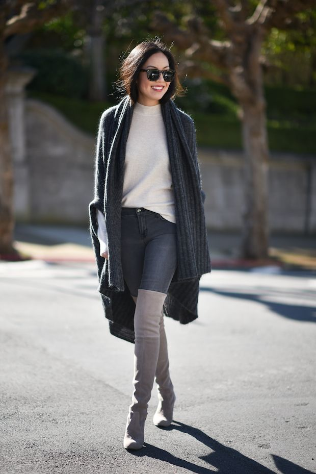 Grey Knee High Boots Outfits