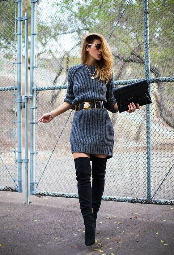 Grey Sweater Dress Outfit Ideas