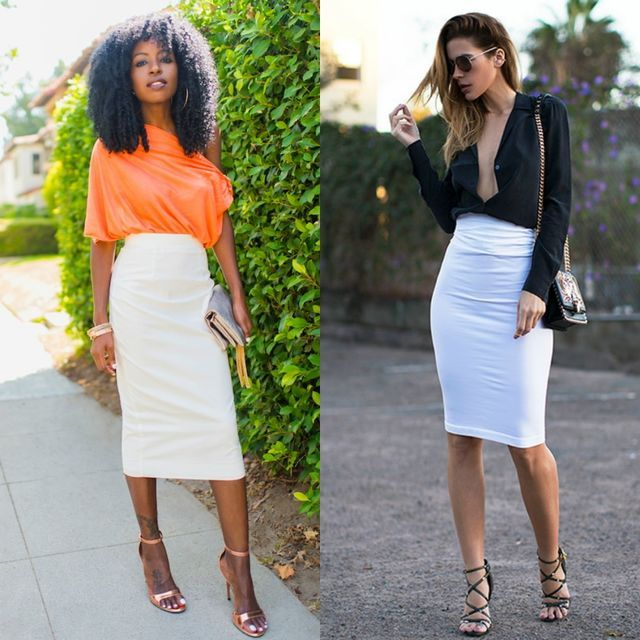 High Waisted White Skirt Outfit Ideas