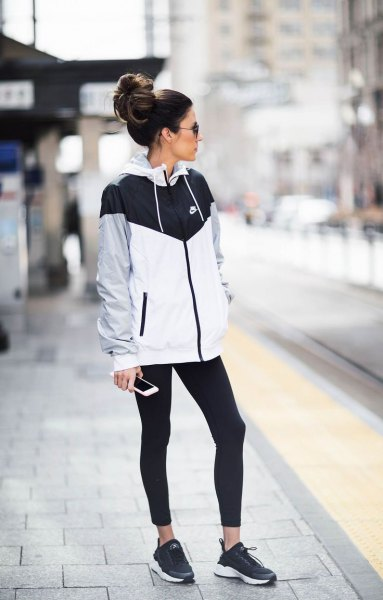 How To Style Black And White Windbreaker