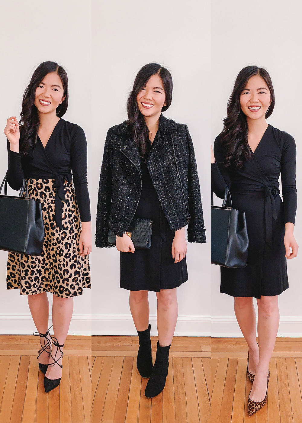 How To Style Black Wrap Dress