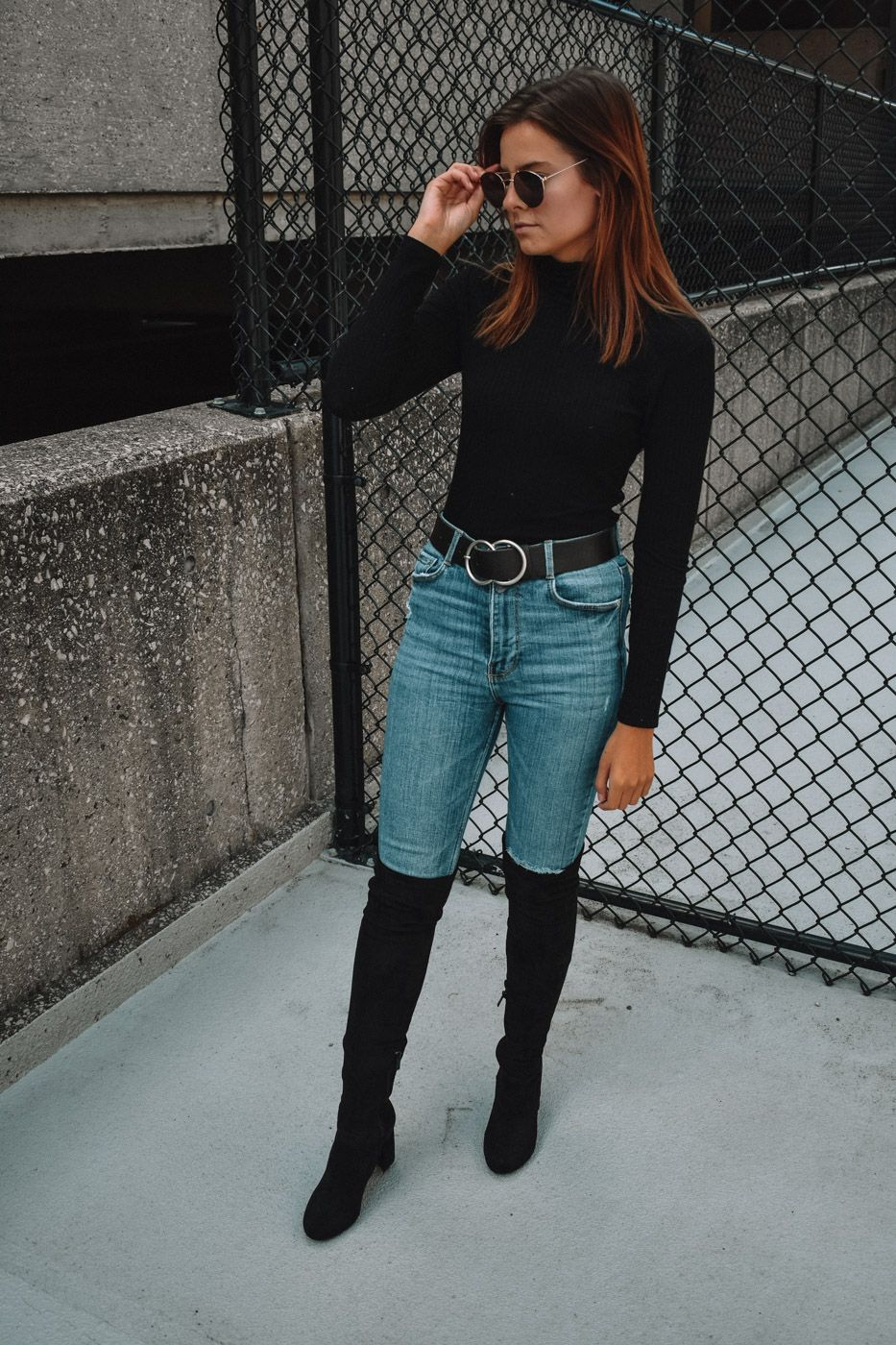 How To Style Denim Knee High Boots