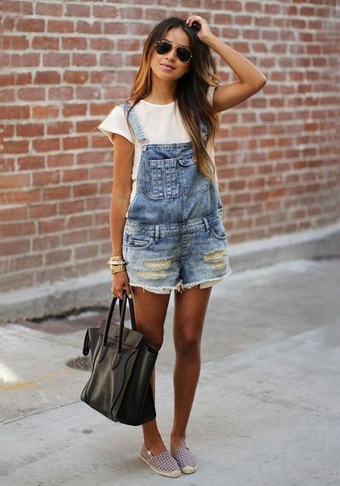 How To Style Denim Overall Shorts