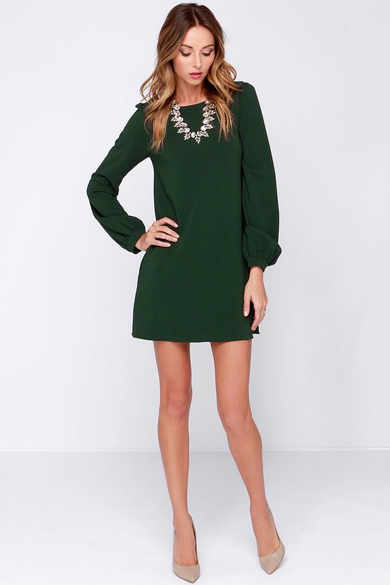 How To Style Green Long Sleeve Dress