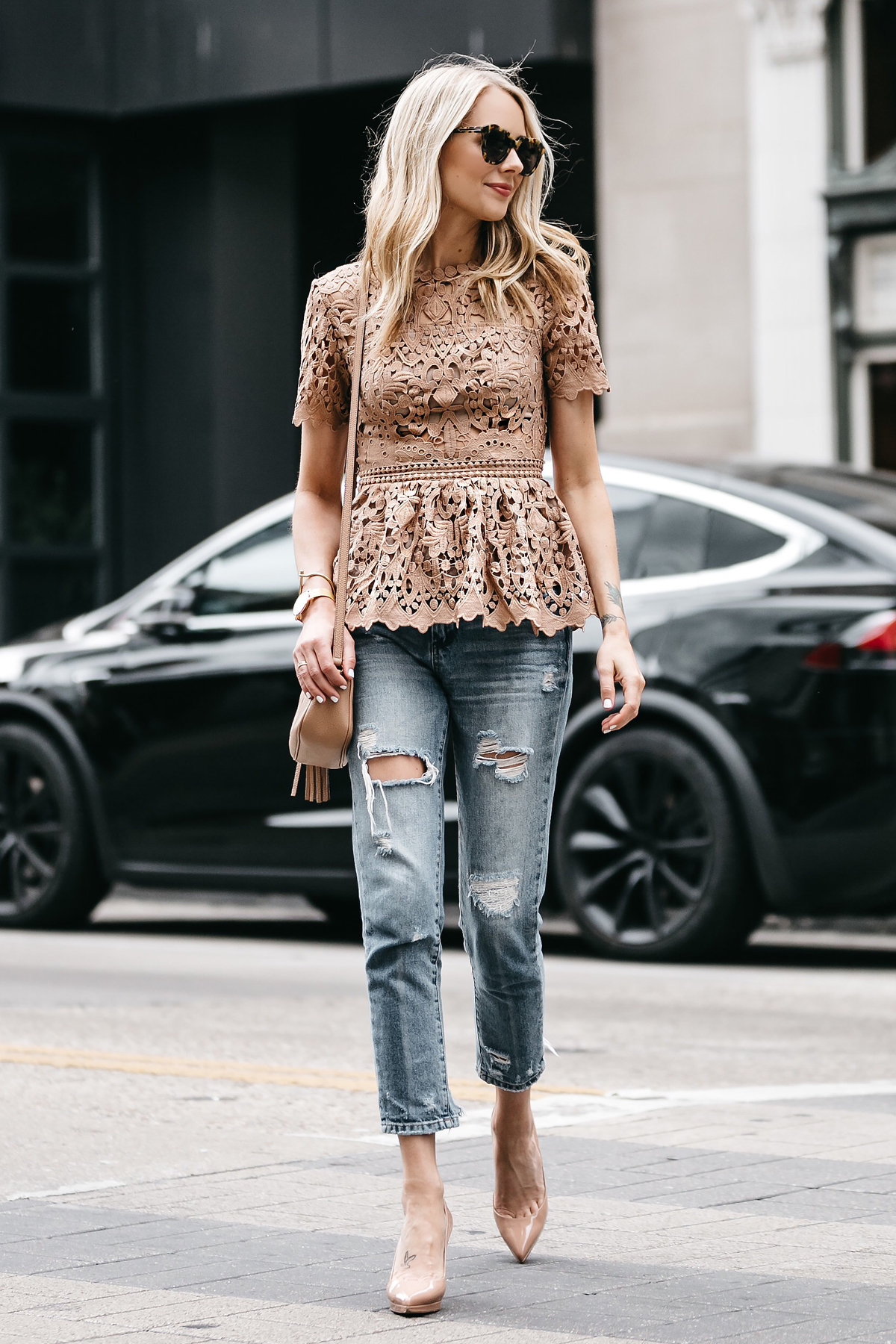 How To Style Lace Peplum Top