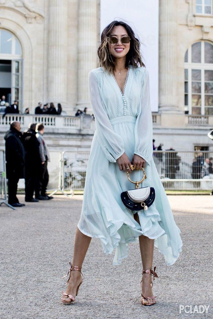 How To Style Light Blue Long Dress